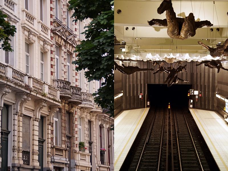 Brüssel: U-Bahnstation mit modernen Kunstinstallationen und historische Fassaden
