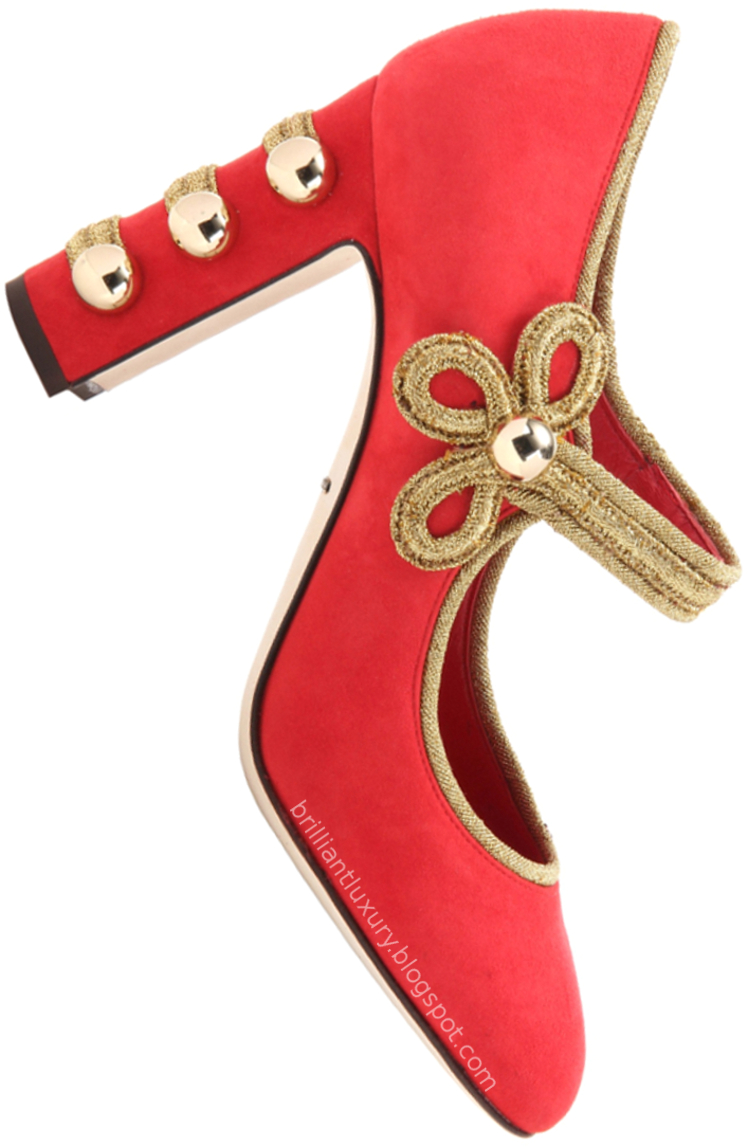 Brilliant Luxury ♦ Dolce & Gabbana red embellished suede pumps