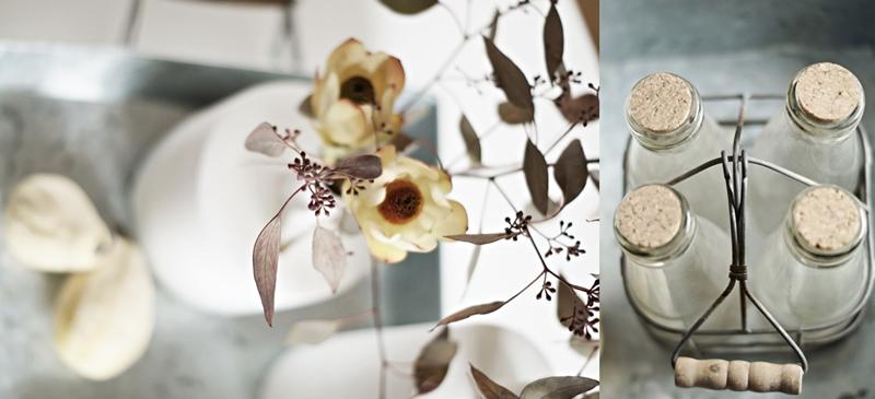 Blog + Fotografie by it's me! - Blog + Fotografie by it's me! - Collage von Eukalyptus, Protea und Glasflaschen