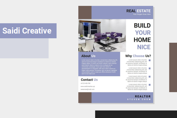 Real Estate Flyer Template Free Download on Word File with Purple Color
