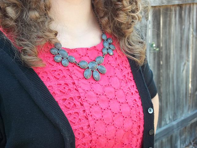 pink eyelet dress black cardigan sweater black bracelet black sandal wedges outfit inspiration style fashion color combination