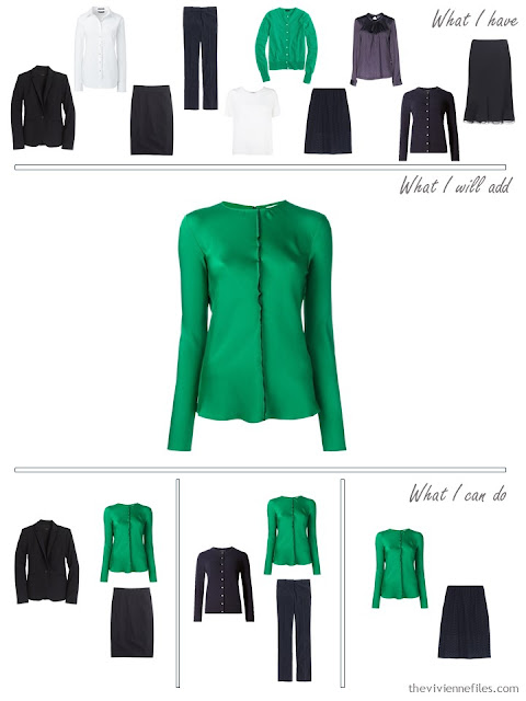 How to add an emerald silk blouse to a business capsule wardrobe