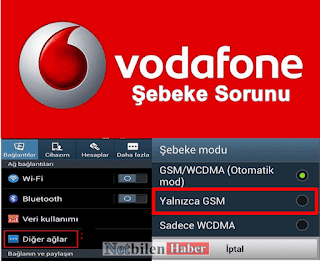 Vodafone Şebeke bağlantı Sorunu ve Çözümü