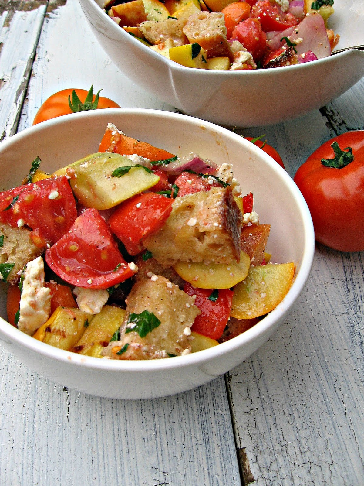 Sweetsugarbean Grilled Italian Bread Salad With Basil And Feta