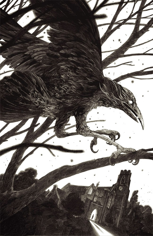 08-Cover for Wakening the Crow-Nico-Delort-Illustrations-with-Scratchboard-Drawings-www-designstack-co