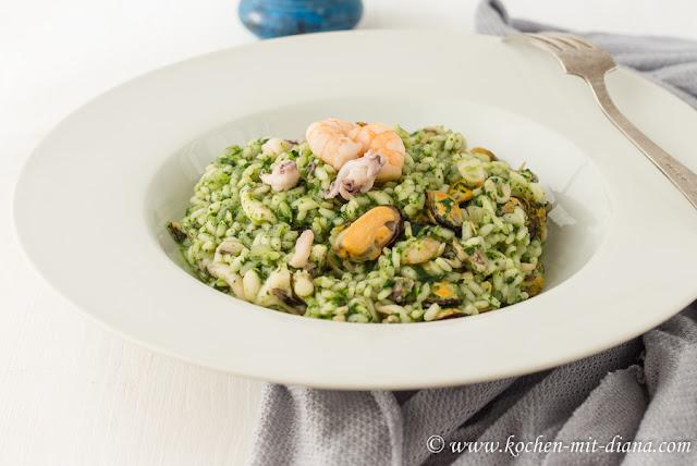 Risotto mit Meeresfrüchten und Pesto