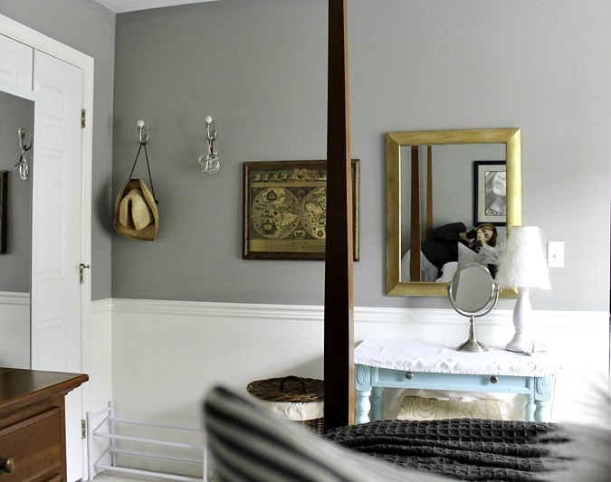 Bedroom Progress- DIY Shelves, Drop Cloth Curtains