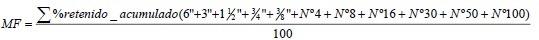 Fórmula para calcular el Módulo de Finura