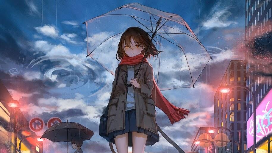 Anime, Girl, Umbrella, 4K, #4.2364