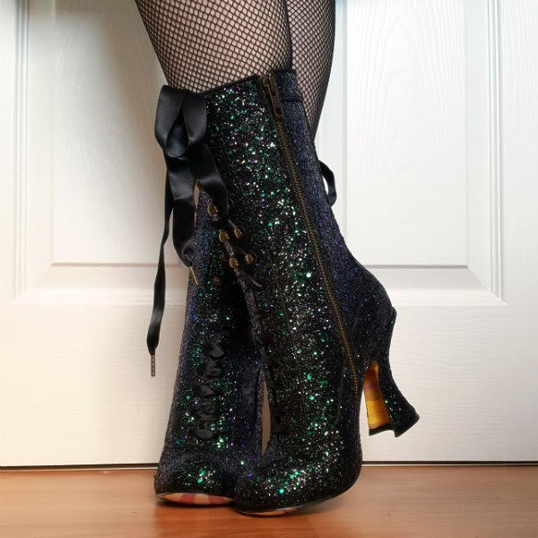 glitter calf length boots with zipper and ribbon tie fastenings