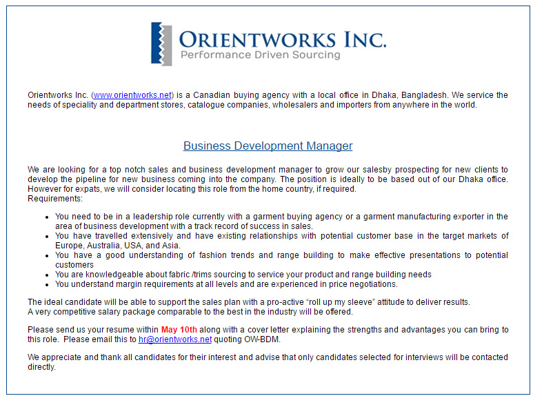 Business Development Manager Salary >> Orientworks Inc Position Business Development Manager Job