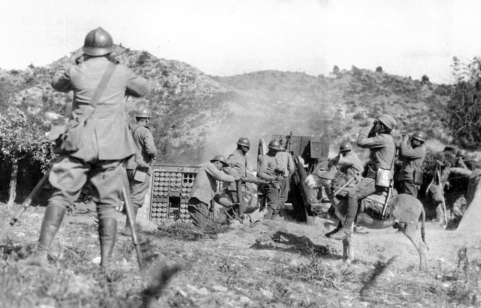 Serbian artillery in action on the Salonika front in December of 1917.