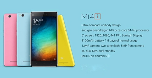 Xiaomi Mi 4i Spesifications - LAUNCH Announced 2015, April DISPLAY Type IPS LCD capacitive touchscreen, 16M colors Size 5.0 inches (~71.7% screen-to-body ratio) Resolution 1080 x 1920 pixels (~441 ppi pixel density) Multitouch Yes Protection Corning scratch-resistant glass    - MIUI 6.0 BODY Dimensions 138.1 x 69.6 x 7.8 mm (5.44 x 2.74 x 0.31 in) Weight 130 g (4.59 oz) SIM Dual SIM (Micro-SIM, dual stand-by) PLATFORM OS Android OS, v5.0.2 (Lollipop) CPU Quad-core 1.7 GHz Cortex-A53 & quad-core 1.0 GHz Cortex-A53 Chipset Qualcomm MSM8939 Snapdragon 615 GPU Adreno 405 MEMORY Card slot No Internal 16/32 GB, 2 GB RAM CAMERA Primary 13 MP, f/2.0, autofocus, dual-LED (dual tone) flash Secondary 5 MP, f/1.8 Features Geo-tagging, touch focus, face/smile detection, panorama, HDR Video 1080p@30fps, 480p@120fps NETWORK Technology GSM / HSPA / LTE 2G bands GSM 850 / 900 / 1800 / 1900 - SIM 1 & SIM 2 3G bands HSDPA 850 / 1900 / 2100  TD-SCDMA 1900 / 2000 4G bands LTE band 3(1800), 7(2600), 38(2600), 39(1900), 40(2300), 41(2500) Speed HSPA, LTE Cat4 150/50 Mbps GPRS Yes EDGE Yes COMMS WLAN Wi-Fi 802.11 a/b/g/n/ac, dual-band, WiFi Direct, hotspot GPS Yes, with A-GPS, GLONASS, BDS USB microUSB v2.0, USB Host Radio Stereo FM radio Bluetooth v4.1, A2DP FEATURES Sensors Sensors Accelerometer, gyro, proximity, compass Messaging SMS(threaded view), MMS, Email, Push Mail, IM Browser HTML5 Java No SOUND Alert types Vibration; MP3, WAV ringtones Loudspeaker Yes 3.5mm jack Yes BATTERY  Non-removable Li-Ion 3120 mAh battery Stand-by  Talk time Up to 35 h (3G) Music play  MISC Colors Dark Gray, Black, White, Yellow, Blue, Pink SAR US - Fast battery charging: 40% in 60 min (Quick Charge) - Active noise cancellation with dedicated mic - XviD/DivX/MP4/H.264 player - MP3/WAV/eAAC+/FLAC player - Photo/video editor - Document viewer