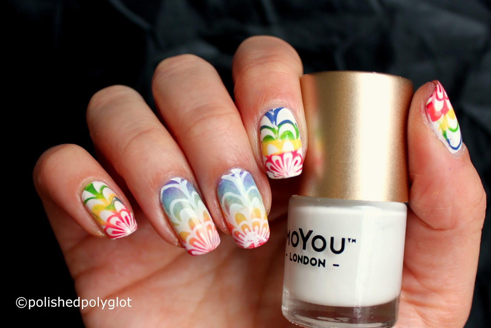 Nail Art │ Rainbow Water Marble cheating [Nail Crazies unite ...