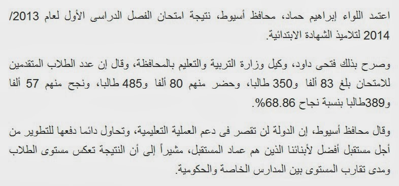 ننشر روابط نتيجة الشهاده االابتدائيه محافظة اسيوط 2014 مديرية التربيه والتعليم
