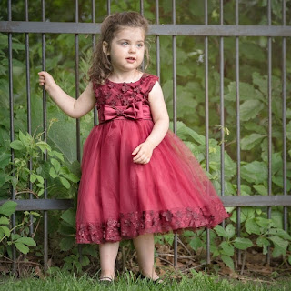 Claret Red Flower Girl Wedding Dress