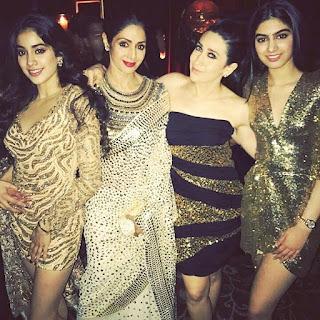 Jhanvi Kapoor with Karishma Kapoor, Shridevi, Khushi Kapoor, Manish Malra at Manish Malra Party 2016