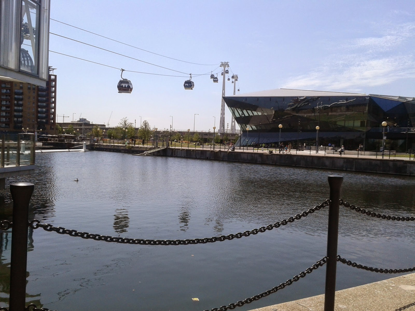 A shot of the emirates cable cars overlooking Greenwich