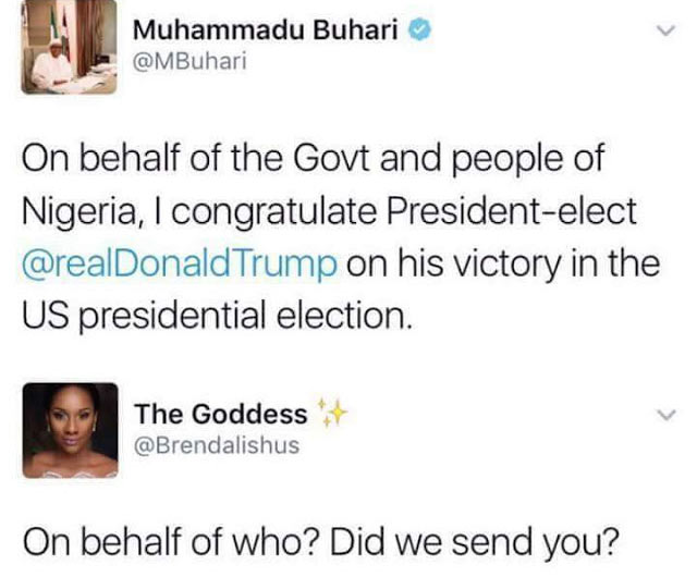Twitter user berates President Buhari for congratulating Trump