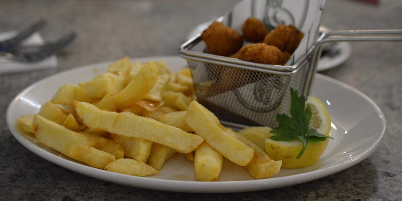 Fish and Chips with Kids at Trenchers, Spanish City - A Review - scampi and chips