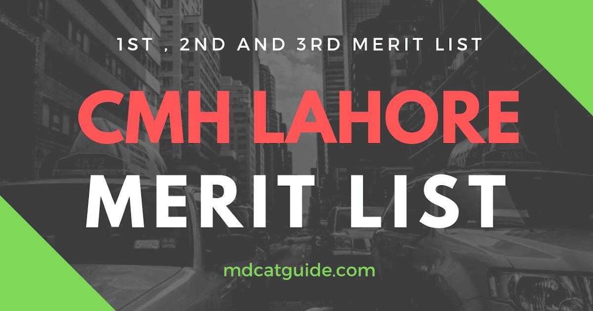 CMH Lahore Merit List 2018-2019   MDCAT Guide