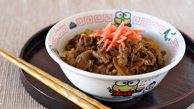 """Gyu"" means beef and ""Don"" is short for ""donburi(rice bowl)""."