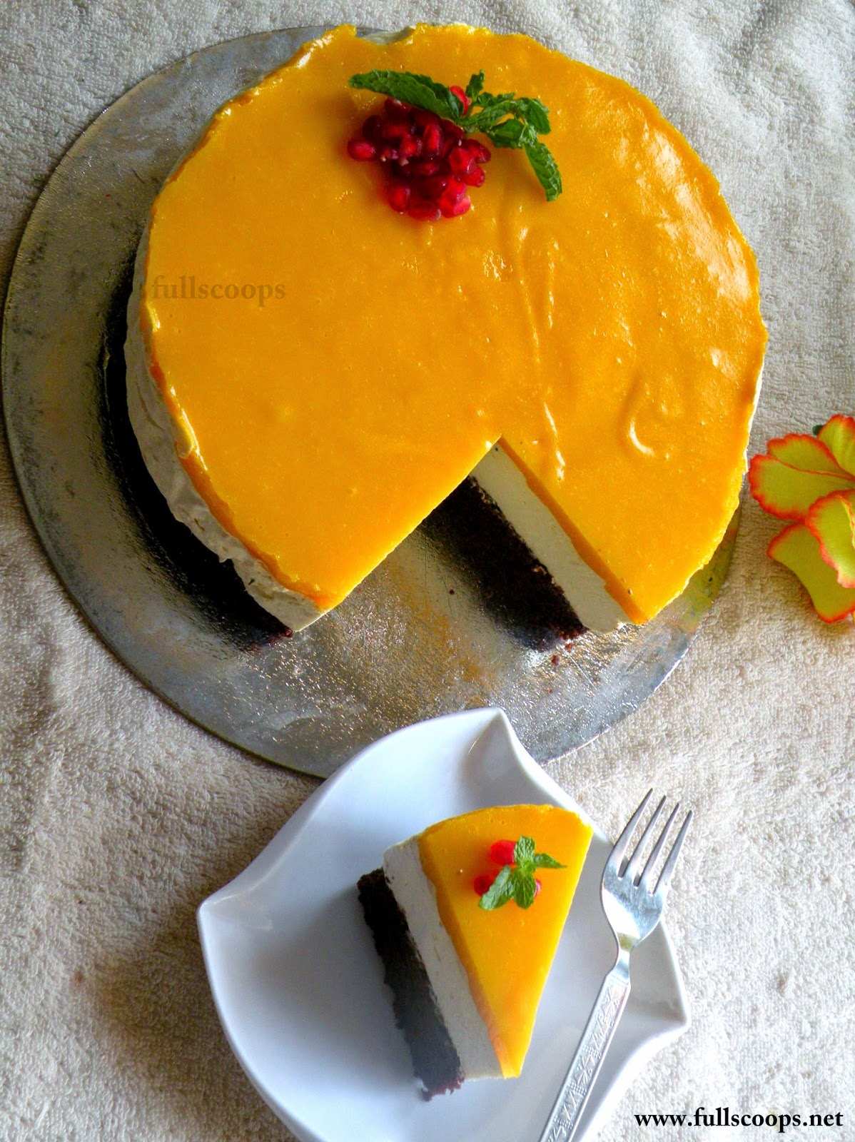 Eggless Mango Mousse Cake Full Scoops A Food Blog With