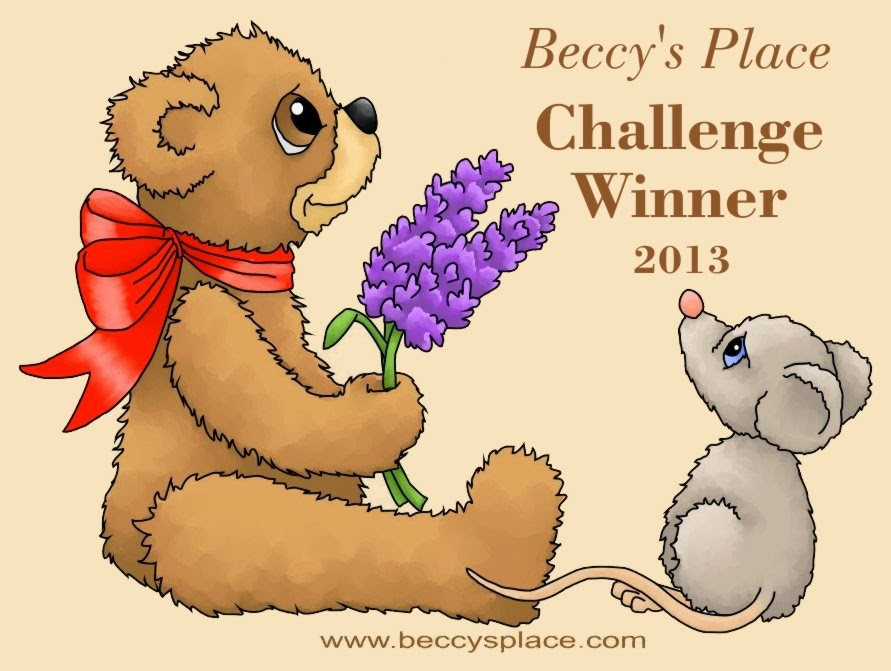 I was one of the three monthly winners at Beccy's Place for the month of holiday cards