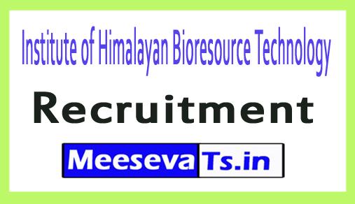 Institute of Himalayan Bioresource Technology IHBT Recruitment