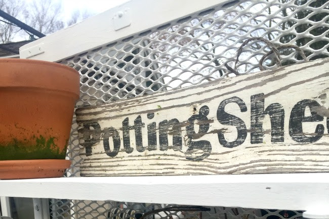 A DIY Potting Bench From a Metal Grate