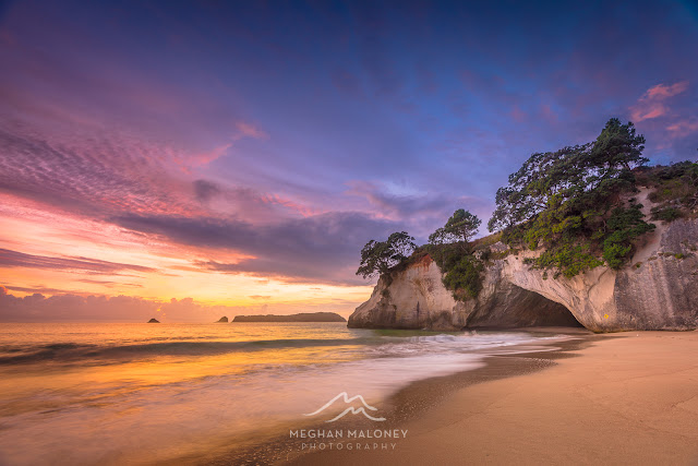 pastel dawn cathedral cove