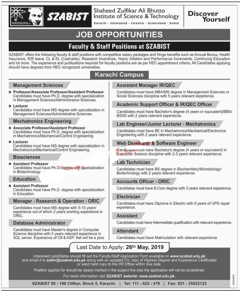 Teaching Jobs In Karachi 2019