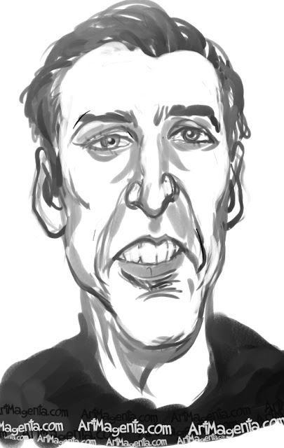 Nicolas Cage caricature cartoon. Portrait drawing by caricaturist Artmagenta