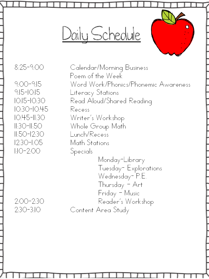 Daily schedule my kindergarten classroom pinterest for Preschool classroom schedule template