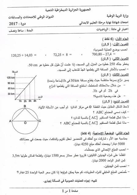 موضوع الرياضيات لشهادة التعليم الابتدائي 2017 مع تصحيح مقترح