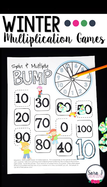 Winter themed multiplication games for learning fun!