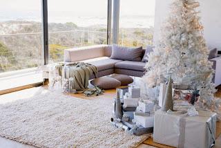 decorar un árbol navideño blanco