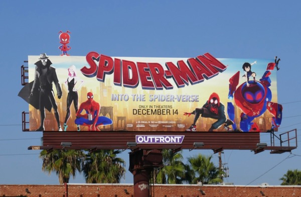 Spiderman Into the Spiderverse movie billboard