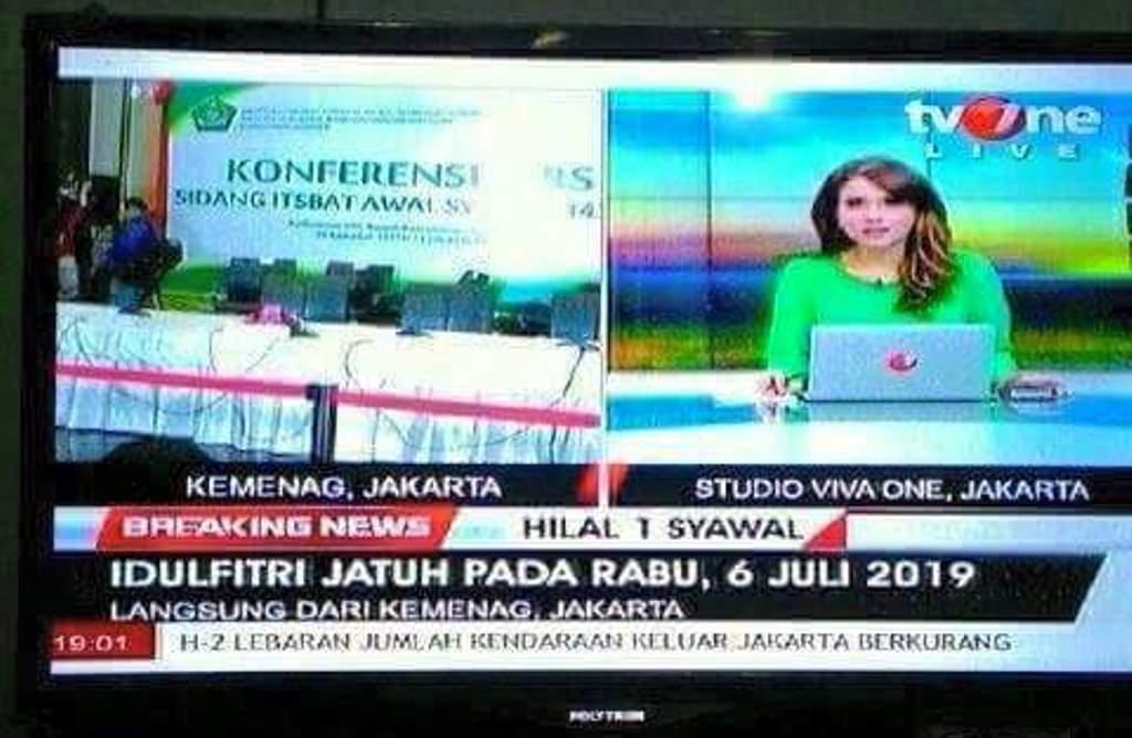 TV One Pastikan Judul Breaking News Idul Fitri Jatuh Pada Rabu, 6 Juli 2016 Merupakan Hasil Rekayasa