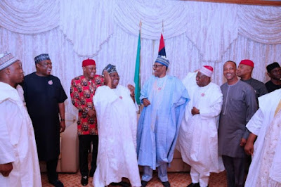 buhari3 - 9JA NEWS: #PMBAt75: Governors, Saraki, Dogara, Tinubu, Well-wishers surprise Buhari on his 75th Birthday