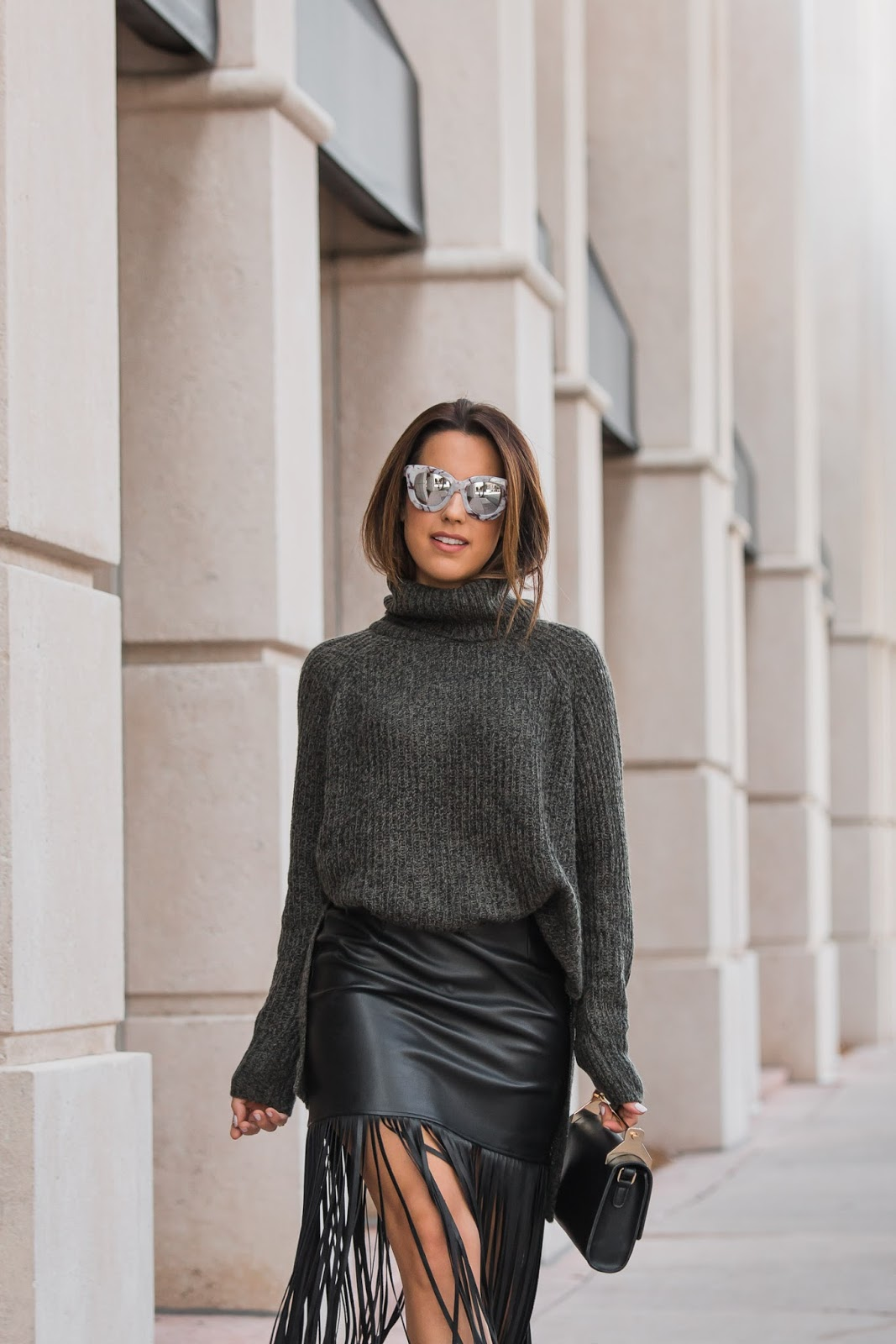 Cozy Sweater & Leather Skirt | Kelly's Kloset by Kelly Saks