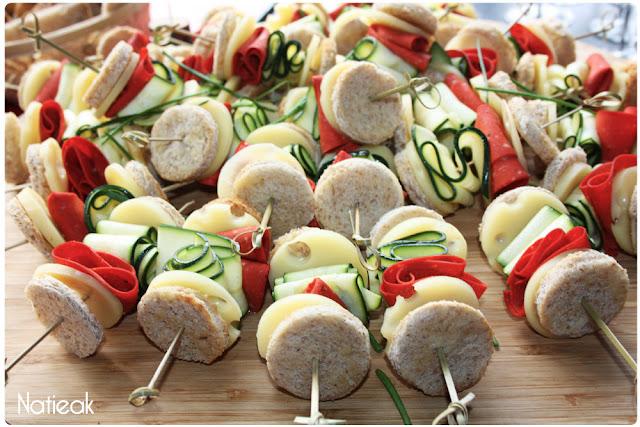 Club sandwich brochette aux tranches végétales veggie
