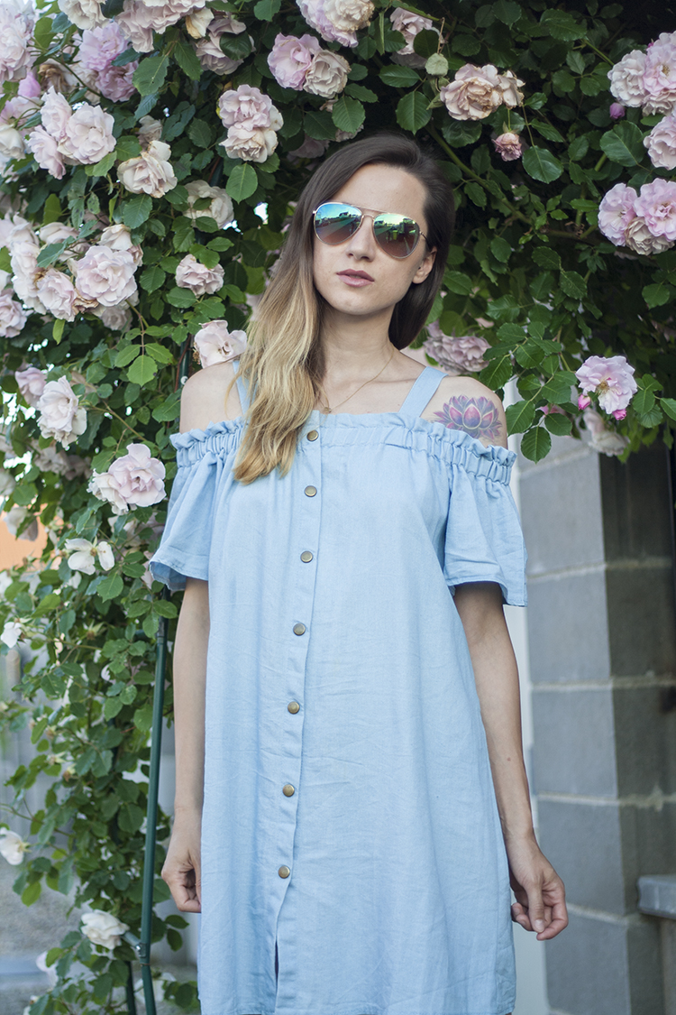 Skinny Buddha Off Shoulder Denim Dress