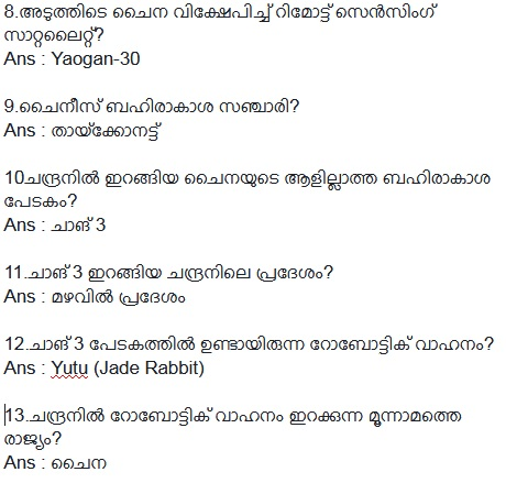 China in Space Important GK Questions in Malayalam