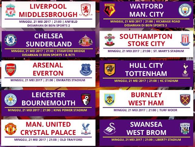 Jadwal & Siaran Langsung Liga Inggris Minggu 21 Mei 2017