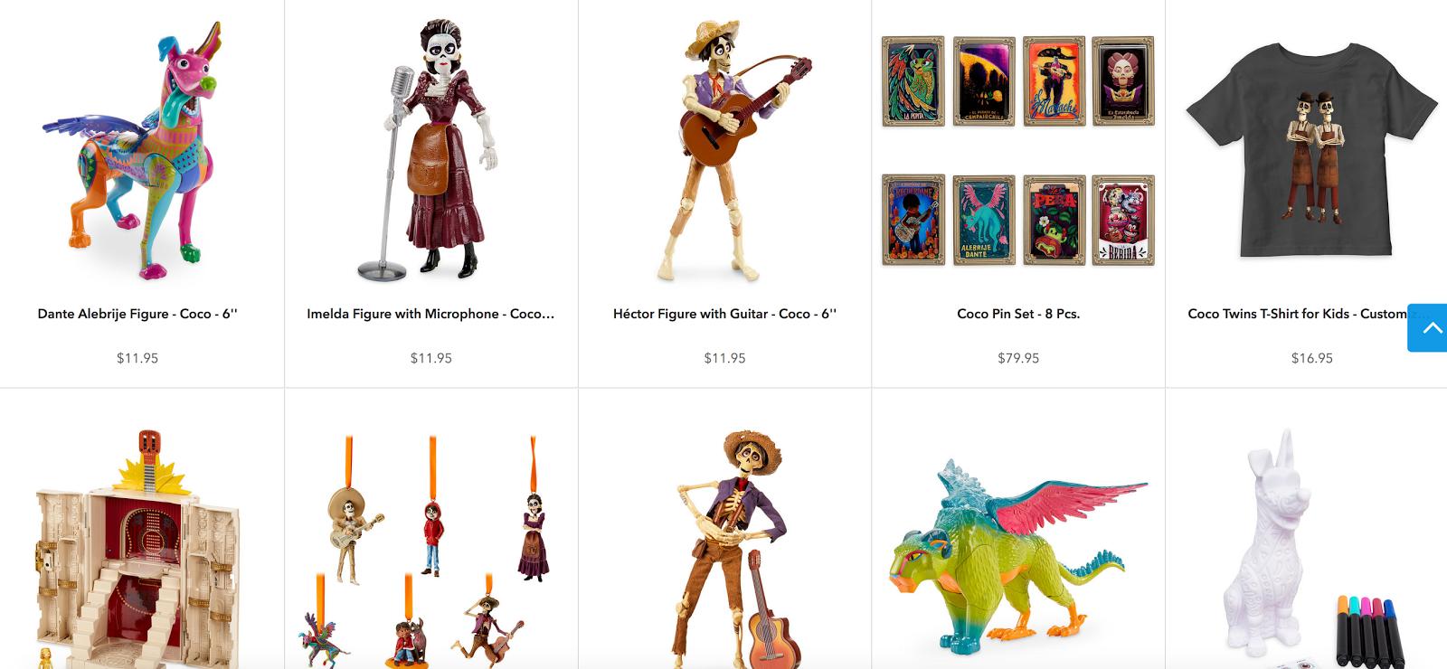 pixar coco merchandise disney store