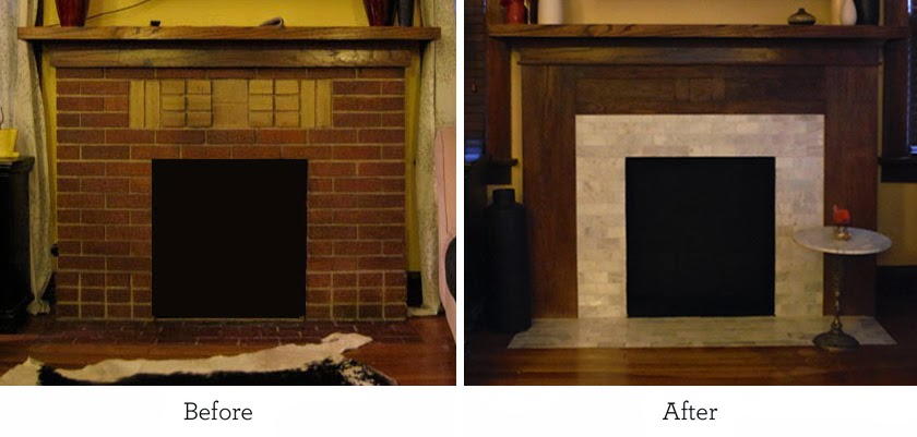 Before And After Kansas City Fireplace Oak Mantel And