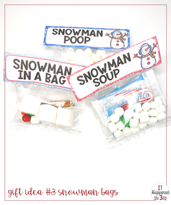 Picture of 3 gift bags with a snowman theme