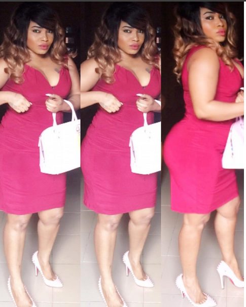 Halima Abubakar flaunts curves in red