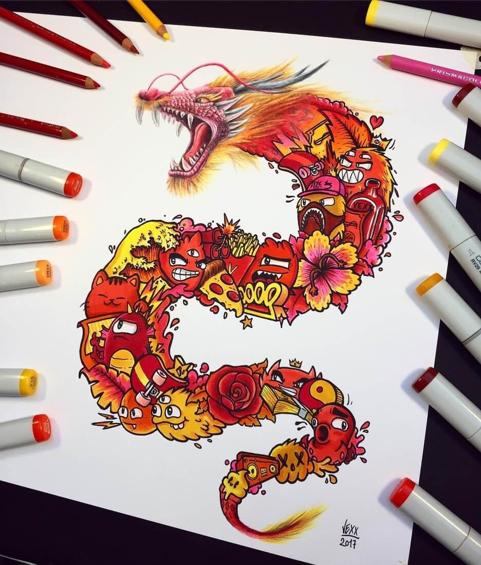 02-Dragon-Vince-Okerman-aka-Vexx-11-Doodle-Drawings-and-1-Painting-www-designstack-co